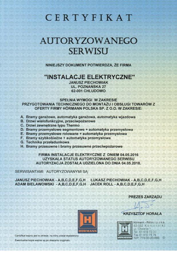 certyfikat Hormann