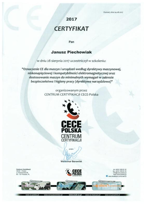 certyfikat CECE-Polska 2017